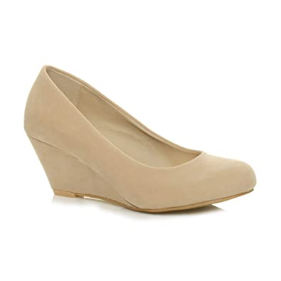 636971b0f Ajvani Womens Ladies Low mid Heel Wedge Round Toe Smart Work Court Shoes  Size 5 38: Amazon.co.uk: Shoes & Bags