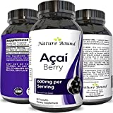 Acai Berry Detox Weight Loss Supplements Antioxidant Superfood Increase Energy Heart Health Burn Belly Fat Immune System Booster Skin Care Benefits Anti-Aging Improve Clarity Libido by Nature Bound