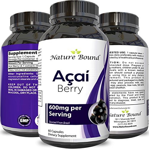 Acai Berry Detox Weight Loss Supplements Antioxidant Superfood Increase Energy Heart Health Burn Belly Fat Immune System Booster Skin Care Benefits Anti-Aging Improve Clarity Libido by Nature Bound (Acai Supplements)