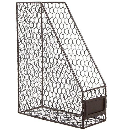 Rustic Chicken Wire Magazine, Office Document, File Holder Shelf Organizer Basket w/ Chalkboard Label
