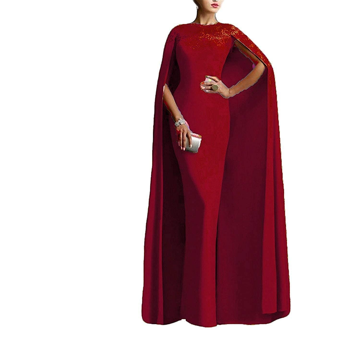 Burgundy LiBridal Women's Mermaid Prom Evening Party Dress Long Formal Gowns with Cape