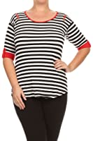 (Plus Size) Solid Plaid 3/4 Sleeve Round Neck Hi-lo Hem Tunic Top (MADE IN U.S.A)