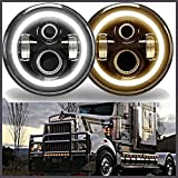 7 Inch For Kenworth T2000 LED Round Headlight Halo Ring Angel Eyes Hi/Low Double Beam DRL Amber Turning Signal Lights Replacement 6000K 6012 6014 6015 H6024 H6017 60W 2Pcs