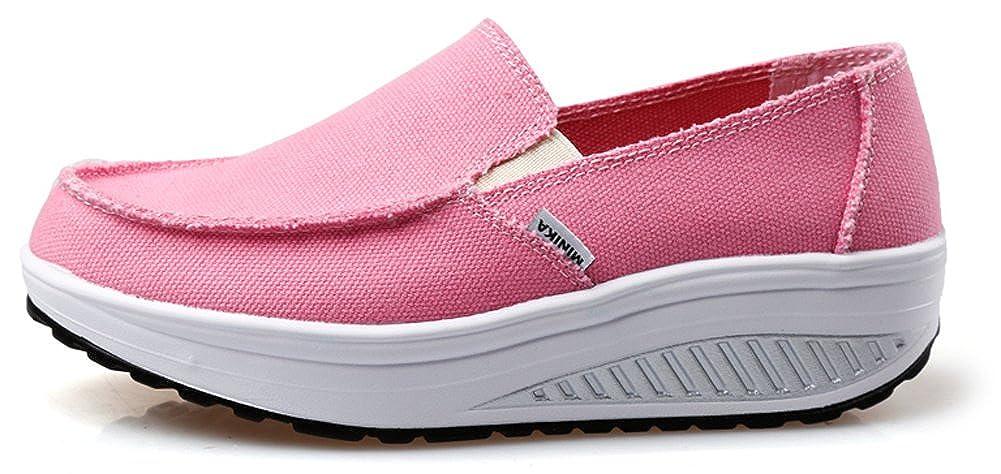 d3baa7c6f305e Ausom Women's Swing Wedges Casual Canvas Shoes Platform Slip-On Lose ...