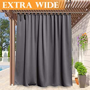 RYB HOME Patio Curtain Outdoor - Sunlight Blackout Shades Tab Top Extra Wide Drape Waterproof Windproof for Outdoor Indoor Privacy Curtain, Wide 100 by Long 84 Inch, Grey