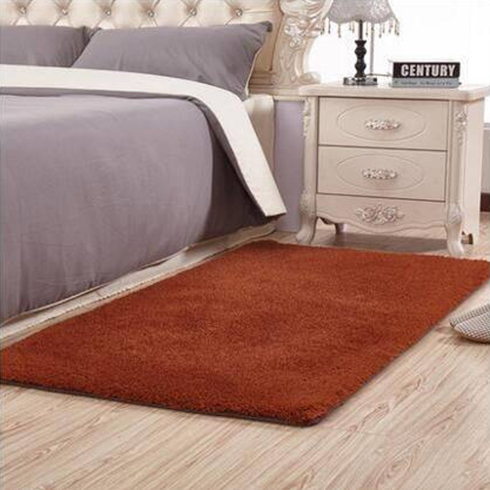 WAN SAN QIAN- Children Bedroom Carpet Living Room Carpet Sofa Europe Princess Rectangle Blended Carpet Bedside Rug Rug ( Color : Brown , Size : 140x200cm )