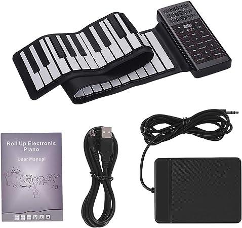 Muslady Piano Eléctrico Enrollable Mano de 61 Teclas, Teclado de Piano Digital Silicona Flexible Portátil Multifunción