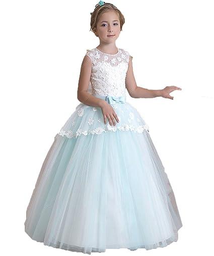 VIPbridal Apliques de tul vestidos de flores niña con el arco de los marcos (8