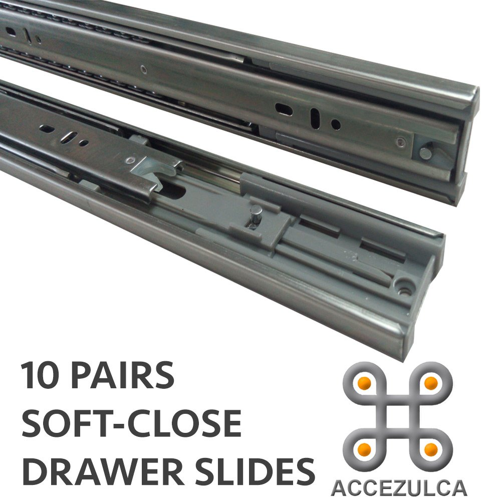 (Pack 10 Pairs) ACCEZULCA Soft-Close Drawer Slides (16 inches)