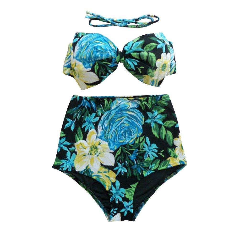 Best World 4 Yu Wocharm Women Vintage Floral Print High Waisted Swimsuit Suits Padded Bra Bikini: Amazon.co.uk: Clothing