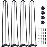 """TE DEUM 28"""" Satin Black Hairpin Coffee Table Legs(Set of 4),1/2"""" Diameter …"""