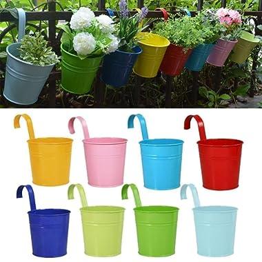 RIOGOO Flower Pots Hanging Flower Pots, Garden Pots Balcony Planters Metal Bucket Flower Holders - Detachable Hook (8 PCS)