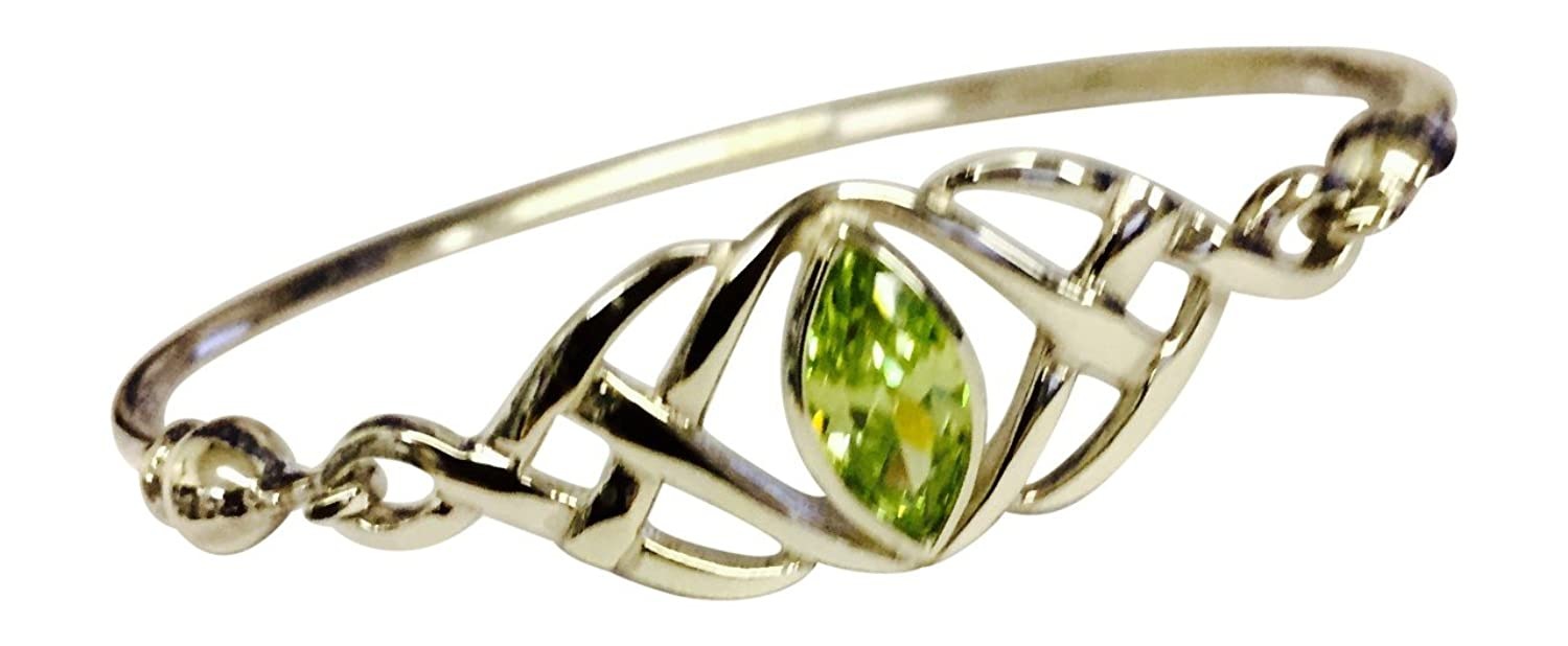 Sterling Silver Celtic Knot Bangle with a Marquise Peridot Crystal- August 7jYiE