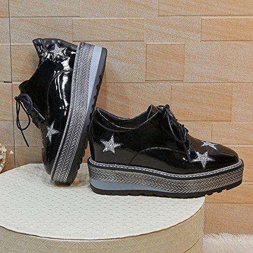 à Rond Et en Hauts dans de de Talons Chaussures la à Éponge Étoiles Cuir Gteau Femelle 35 Noir L'Extérieur Éponge Cinq CXY Printemps de l'augmentation à L'Intérieur EXxvqAn0q