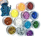 Ungfu Mall 12 PCS Colors Festival Glitter powder Face Body Hair Nails Decorative Hexagon 3D Nail Art Glitter Sequin Powder Shiny Nails Decoration Decals Sparkling Sticker for Child Make Christmas arts