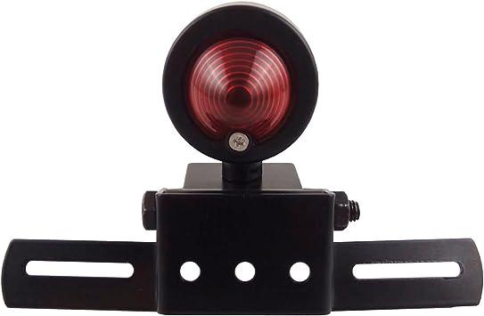 Motorcycle Round Tail Lights Brake Stop Running Light License Plate Holder