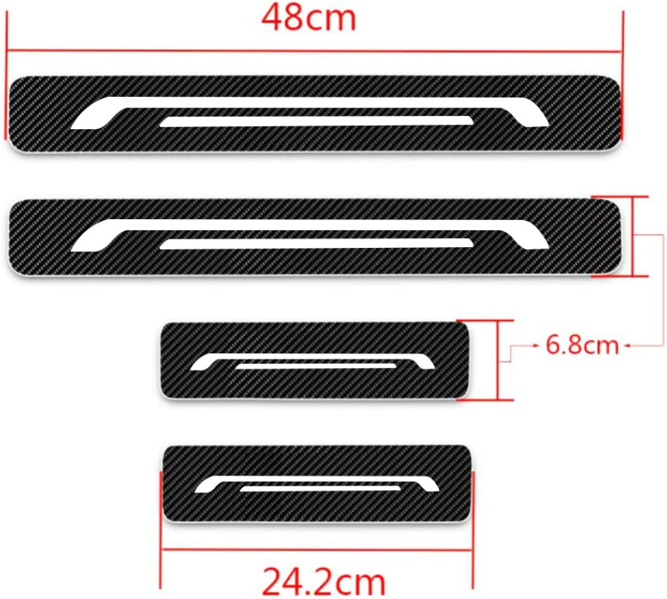 for Kia Ceed Forte K2 K3 K5 K9 Soul Universal Car Door Sill Protect 4D Carbon Fibre Reflective Sticker Anti-Kick Pedal Scuff Guard Accessories 4Pcs red