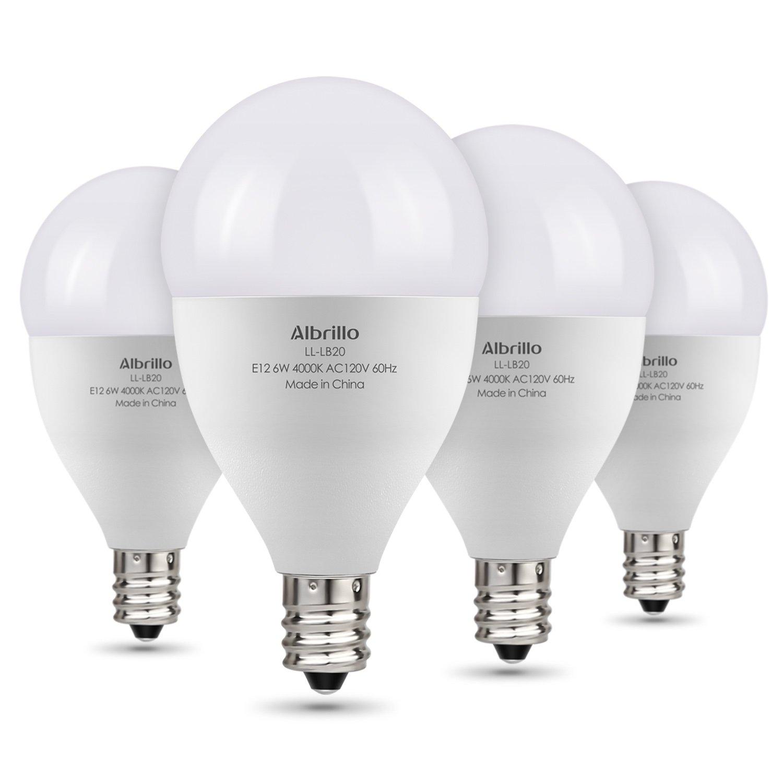 Albrillo E12 LED Bulb, LED Candelabra Bulb 60W Equivalent, Natural White 4000K Candle Base LED Chandelier Light Bulbs, Non-Dimmable LED Lamp, 4 Pack