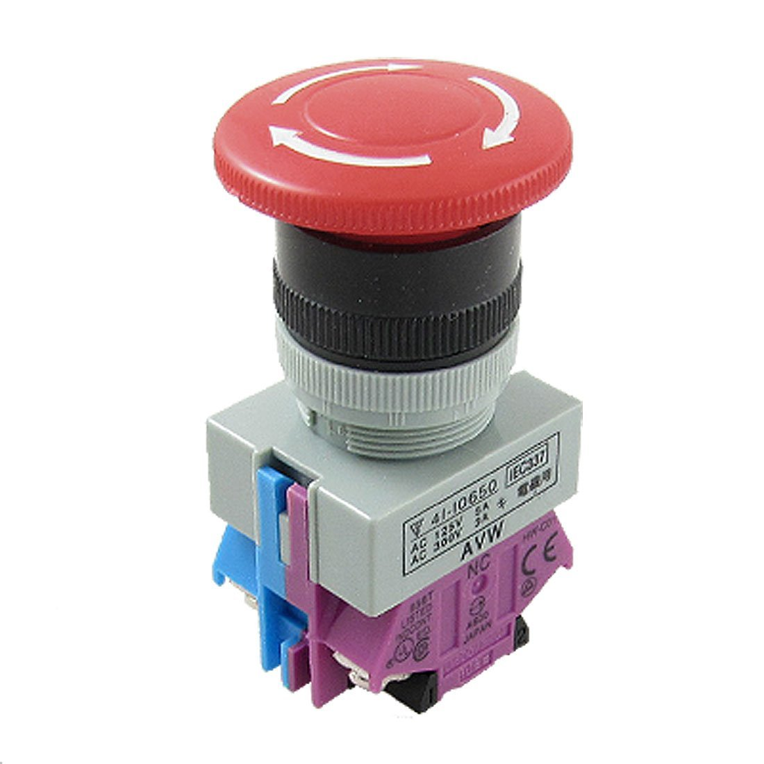 sourcingmap Latching Emergency Stop Push Button Switch w 24VDC Red Light AC 250V 0.5A 16mm Mounting Dia SPDT 1NO 1NC 4P Mushroom Head a17031000ux0114