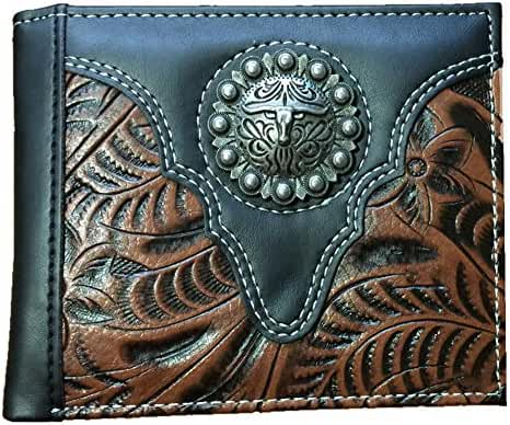 New Style Metal Texas Longhorn Men's Collection Tooled Soft Leather Bifold Wallet in 2 Colors Black and Brown (KD013 Black)