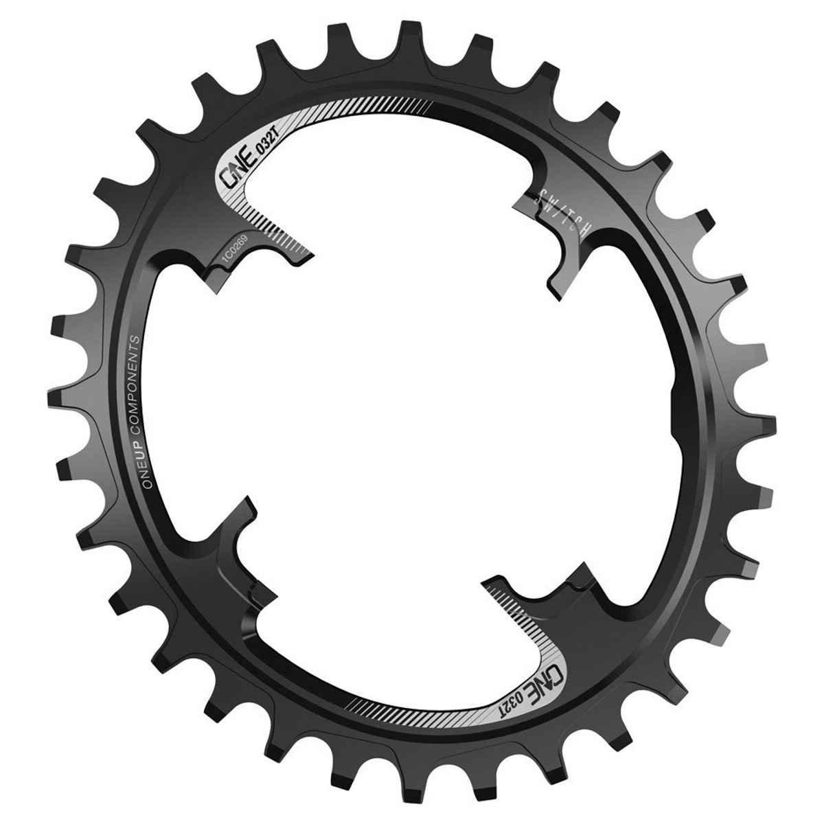 OneUpコンポーネントスイッチオーバルTraction Chainring B06XGZHFD9 36t|ブラック ブラック 36t