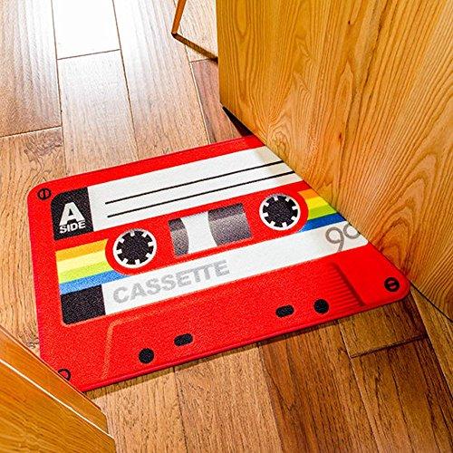 SimpleLife4U Funny Retro Red Cassette Doormat Welcome Entrance Floor Mat Bathroom Rug Washable