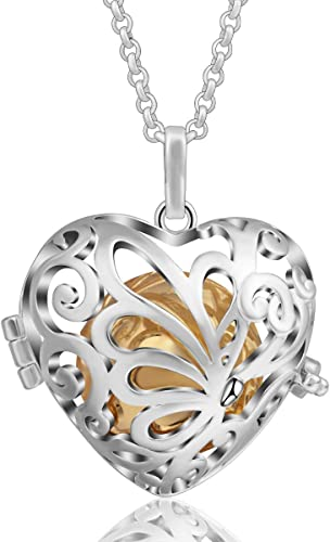 Fairytale Angel Wing Locket Cage Stainless Heart Silver Pendant Chain Necklace