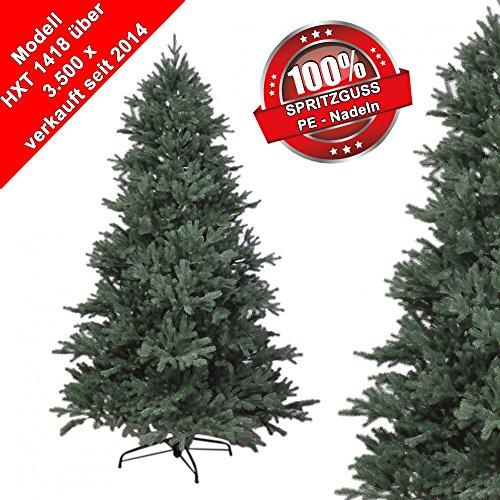 180 cm exklusiver, hochwertiger künstlicher Spritzguss PE Luxus Weihnachtsbaum, 100% Spritzgussnadeln ca. 3245 Spitzen, mit Metallständer, Minutenschneller Aufbau mit Klappsystem, schwer entflammbar, HXT 1418
