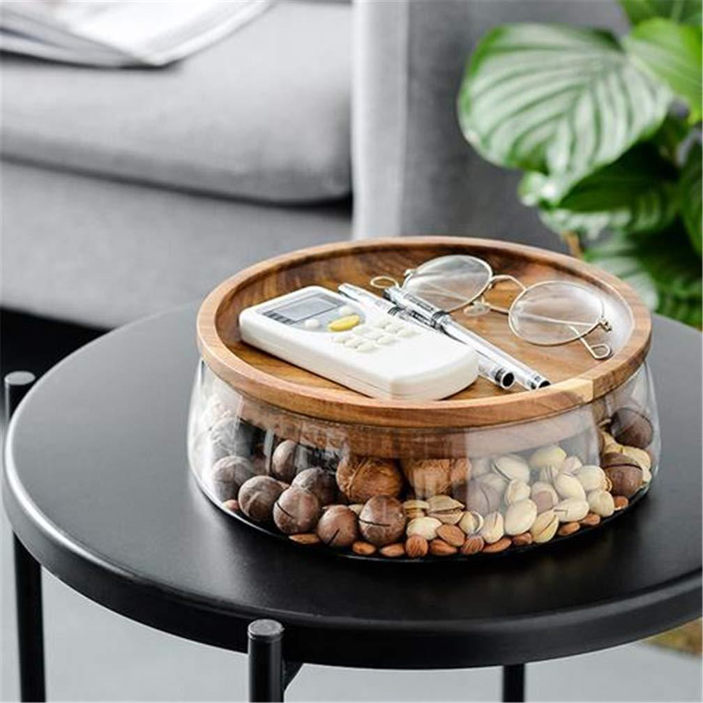 yangguifengji Dulces Recipiente de Cristal para Alimentos con Tapa de Madera para nueces 2350 ml.