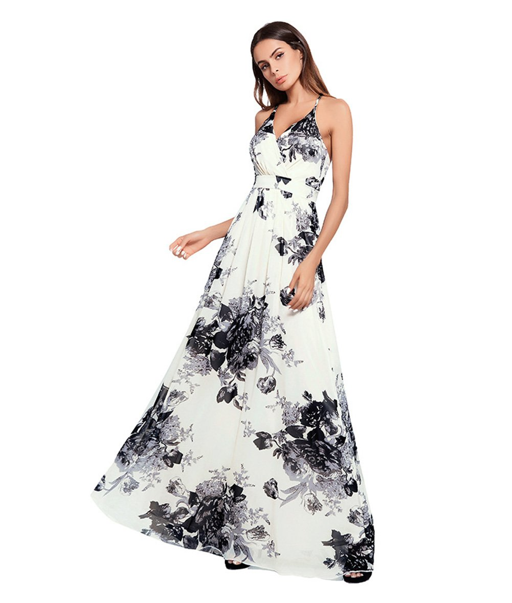 Black Womens Dresses Summer Floral Maxi Dress Print Tunic Split Casual Short Sleeve Long Skirt, Open Back (color   Red, Size   XL)