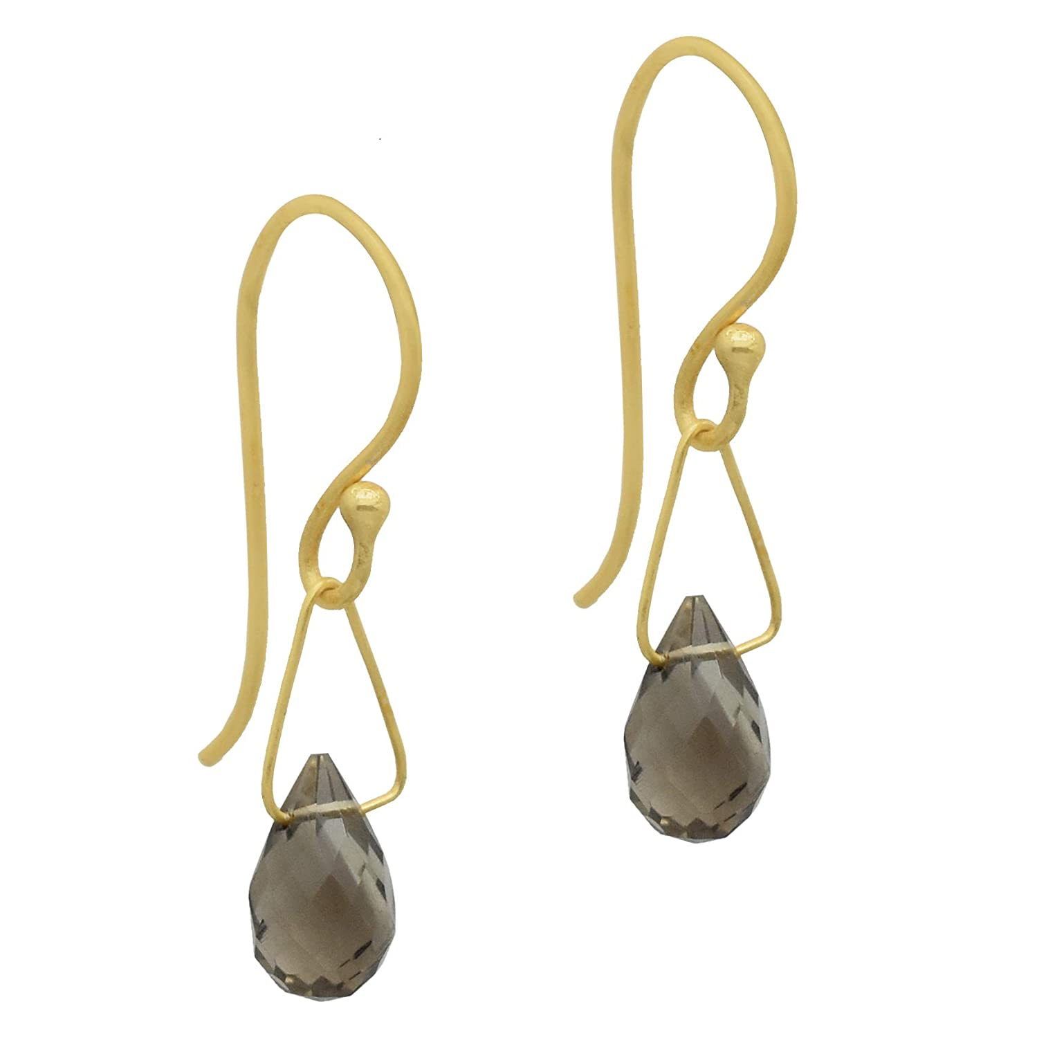 The V Collection earrings 22k yellow gold plated faceted smoky drop dangling earrings for women and girls