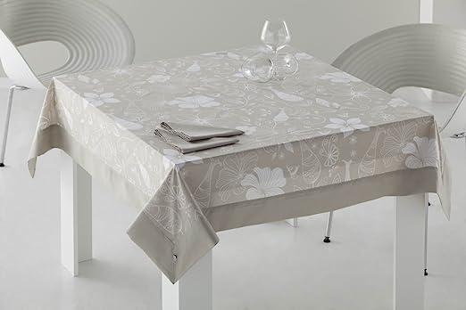 ESTELA - Mantel Estampado Adela Color Piedra - 155x155 cm. - Confección en Aplique - Incluye 6 servilletas - 50% Algodón / 50% Poliéster: Amazon.es: Hogar