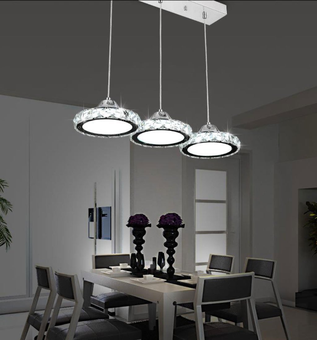 Dining table pendant lights amazon restaurant chandelier three modern minimalist restaurant lamp chandelier round crystal pendant lamp dining bar table mozeypictures Images