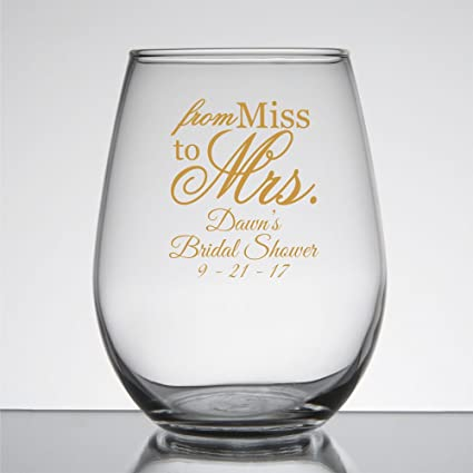 48 pack personalized color printed 9 once stemless wine glass from miss to mrs bridal