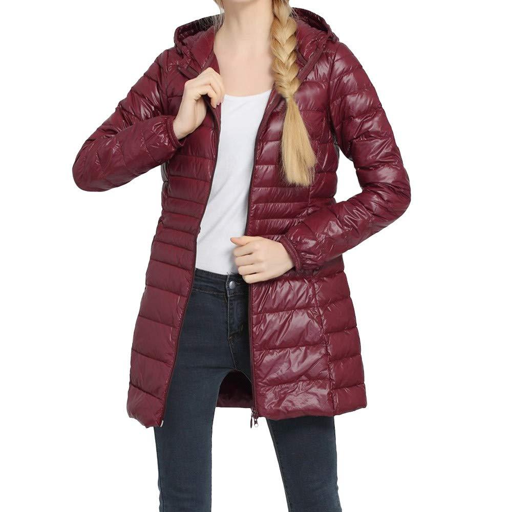 iDWZA Fashion Womens Winter Plus Size Coat Warm Thin Down Jacket Outwear Overcoat (Red,US S/CN L)