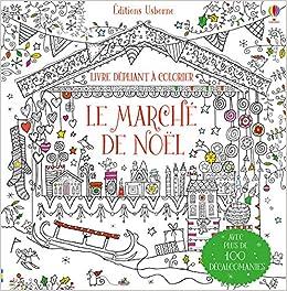 Le marché de Noël   Livre dépliant à colorier (French Edition
