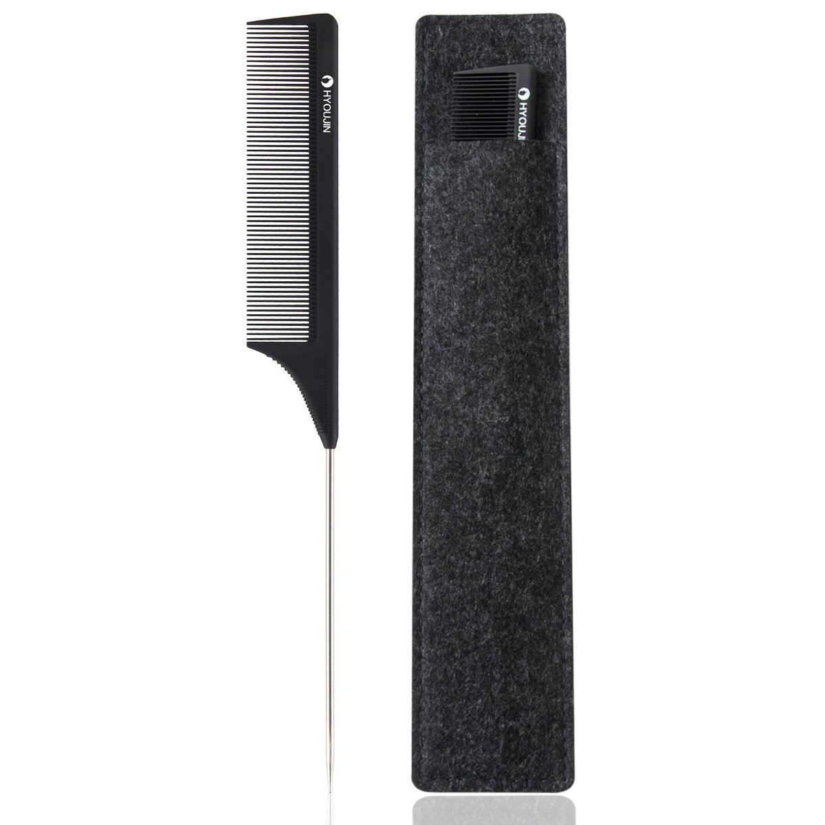 HYOUJIN 608 Rattail Comb Pintail Comb Carbon Comb Teasing Comb Metal Parting Comb For All Hairstyling Black