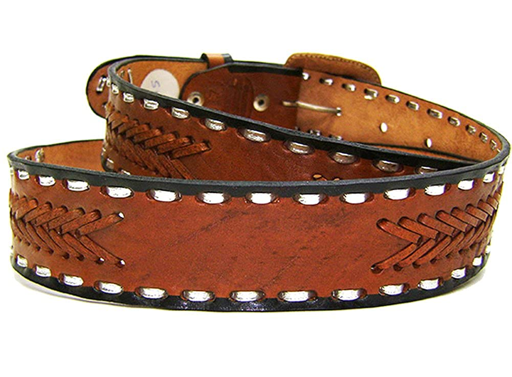 Modestone Hand Painted Eagle Arrow Braid Leather Belt 1.5 Width Tan