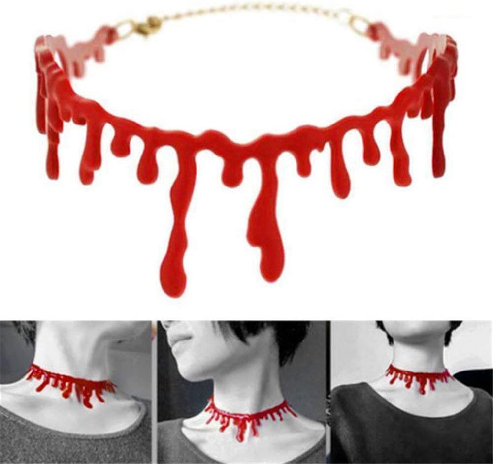 Fellibay Halloween Blood Costume Bloody Scar Necklace Horror Blood Drip Necklace Throat Bleeding Necklace Party Ladies Supplies for Halloween Party Adjustable 8~15,5 Pack
