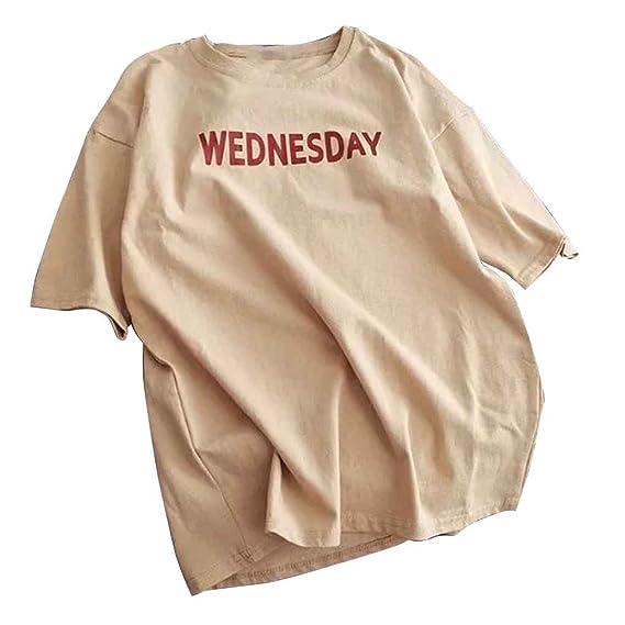 Republe Semana Verano de los Hombres Impresa Letra de la Camiseta de Cuello Redondo Manga Corta Ropa sheNp6O