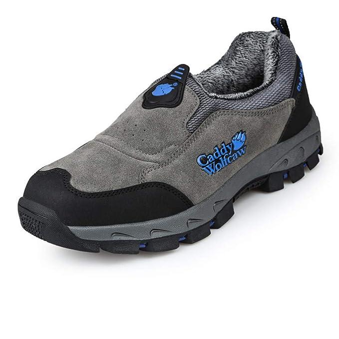 Senderismo Zapatillas de Deporte Hombres ZARLLE Zapatos de Senderismo Primavera/otoño deslizarse en Botas de Camping de Goma Cuero Escalada Zapatillas de ...