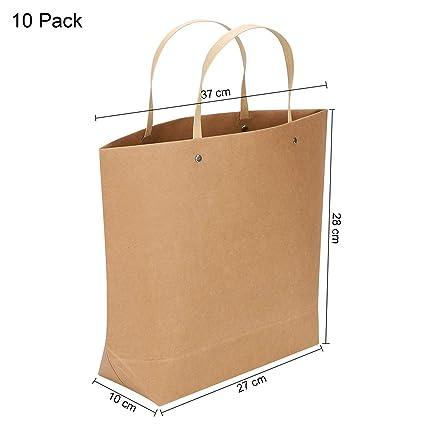 10 bolsas de papel kraft grandes con asa reforzada, bolsas ...