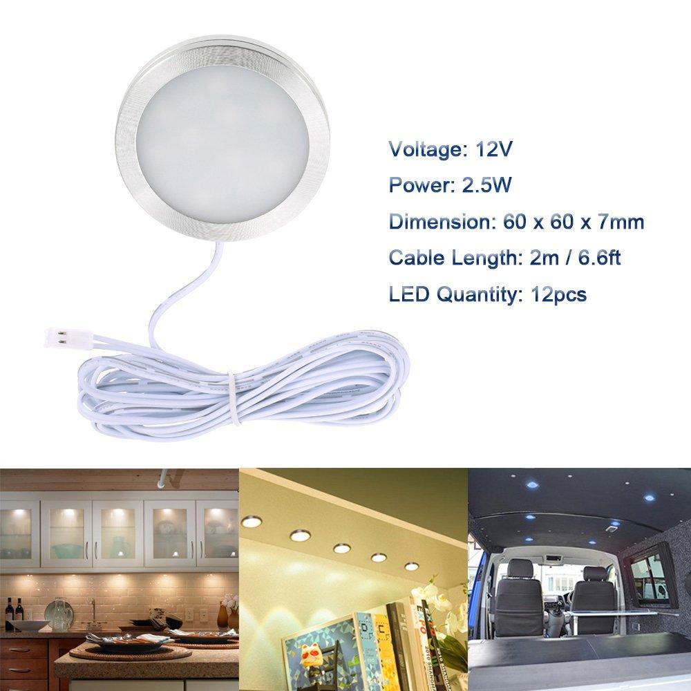 Car Charger for DC 12V RV Camper Caravan Boat Kitchen Living Room 4pcs Interior LED Roof Spot Lights with Splitter Adapter