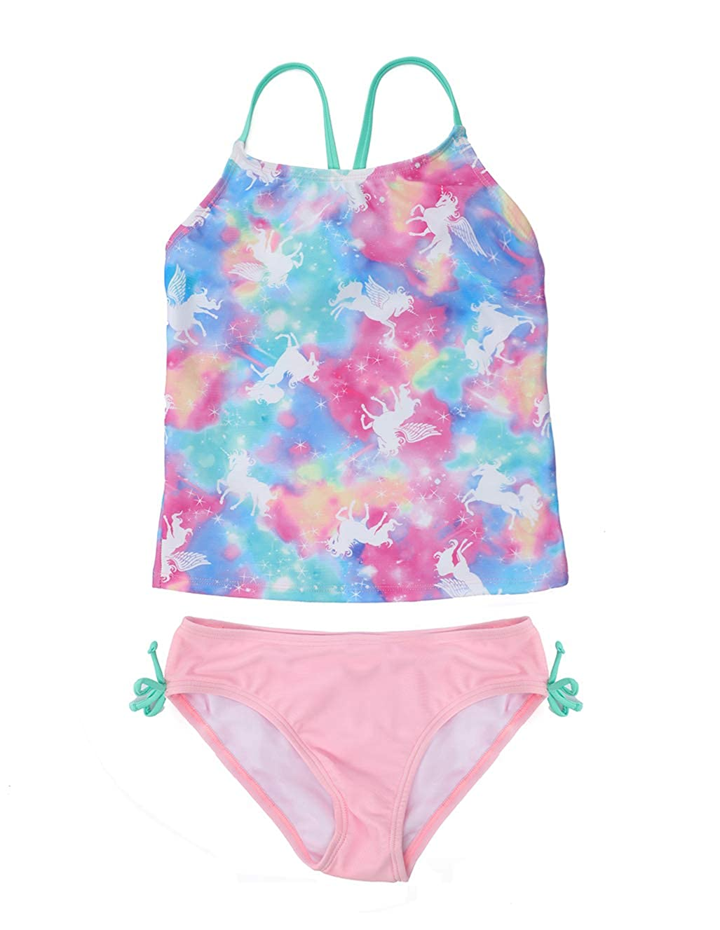 Colorful Floral Printing T-Back Beach Tankini Swimsuits for Kids LEINASEN Two Piece Bathing Suits for Girls