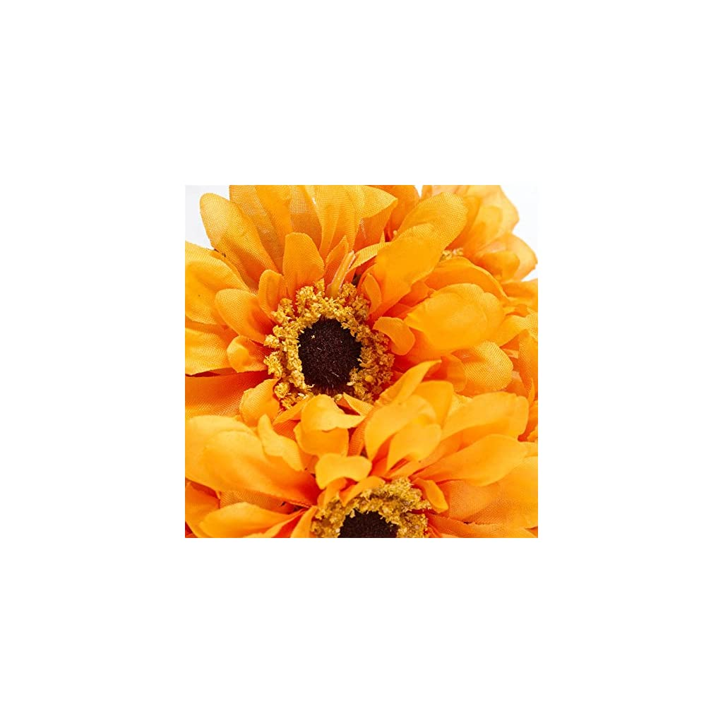 Factory Direct Craft Poly Silk Artificial Zinnia Bush for Indoor Decor – 4 Bushes (Yellow)
