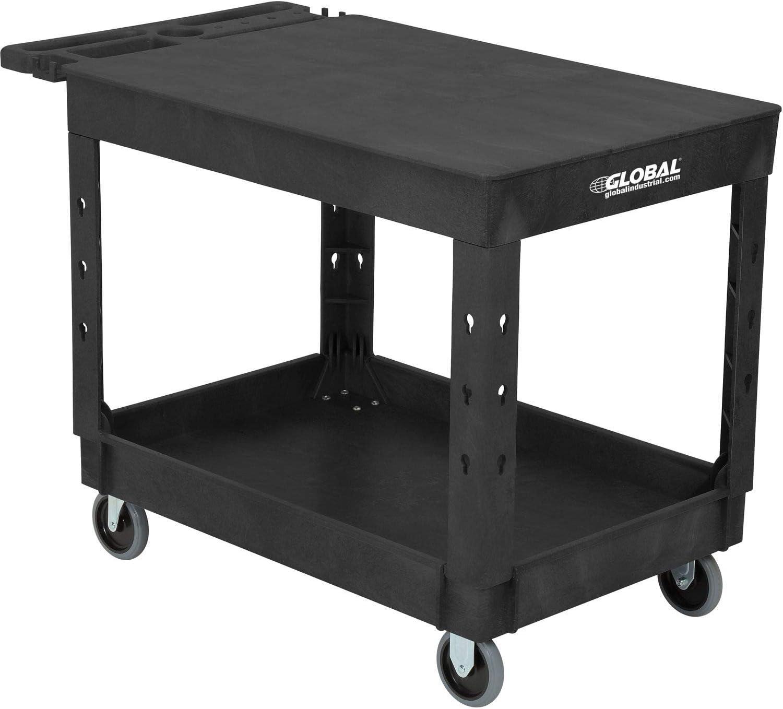Industrial Service Utility Cart, Plastic 2 Flat Black Shelf, 44 x 25-1 2 , 5 Rubber Casters