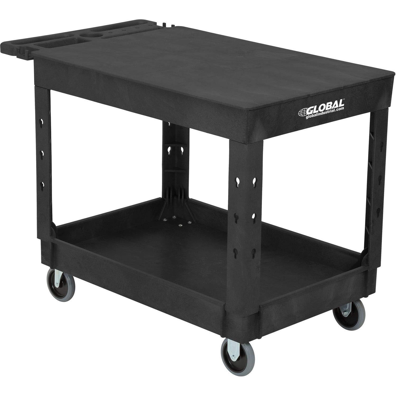 "Industrial Service & Utility Cart, Plastic 2 Flat Black Shelf, 44"" x 25-1/2"", 5'' Rubber Casters"
