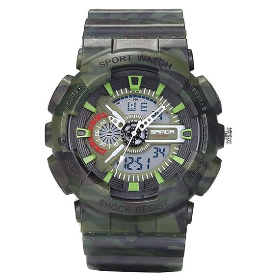 Sanda Hombres Relojes quartz-watch de moda del Ejército Militar reloj deporte camuflaje Digital wristwatches-green: Amazon.es: Relojes