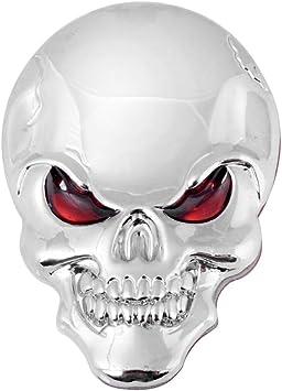 1 Chrome 3D Skull And Flames Black Eyes Emblem 3M Self Adhesive 3 D Decal Logo