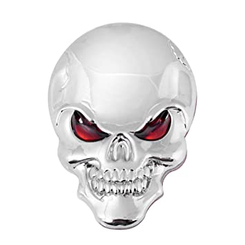 3d chrome skull red eyes metal decal emblem sticker fairing custom motorcycle cruiser sport bike